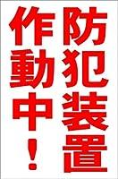 シンプル縦型看板 「防犯装置作動中(赤)」その他 屋外可(約H45.5cmxW30cm)