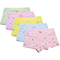 BOZEVON Girl Knickers - 5 Pack Cute Comfortable Cotton Boxers Briefs Lovely Print Underwear Panties Size 3-9 Years