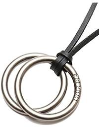 [REPIDO (リピード)] ネックレス メンズ レディース ダブルリング レザー チョーカー サークル メタル アンティークシルバー Free
