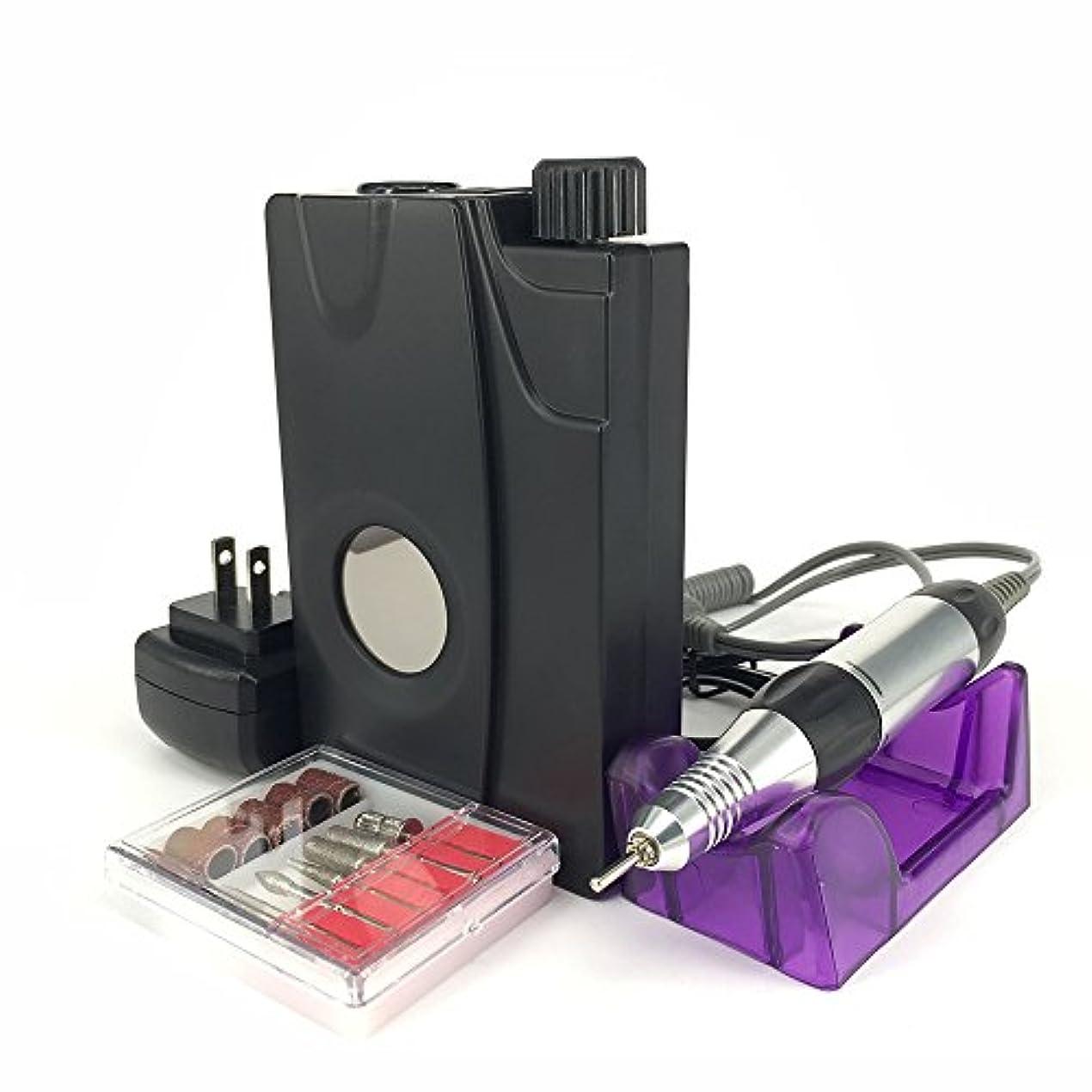 悪行逮捕相関するUZMEI ネイルアート機器コードレス充電式電気ネイルファイルドリルマシンディスプレイスクリーン(黒)