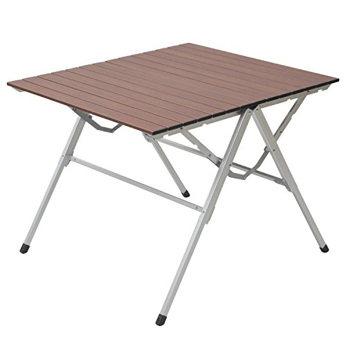 山善(YAMAZEN) キャンパーズコレクション スタイルワンアクションテーブル(幅81奥行70) ウッドプリント OAT-8070(WP)