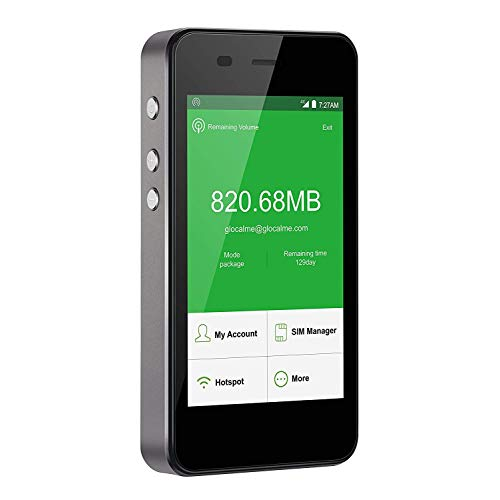 GlocalMe G3 モバイルWiFiルーター SIMフリー 4G高速通信 世界100ヵ国以上対応 iPhone・Xperia・Huawei・Galaxy・iPadなどに対応 5350mAh充電バッテリー搭載 ポケットWiFi(グレー)