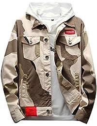 chenshiba-JP メンズファッション迷彩プリントボタンダウンデニムジャケットアウトウェアコート