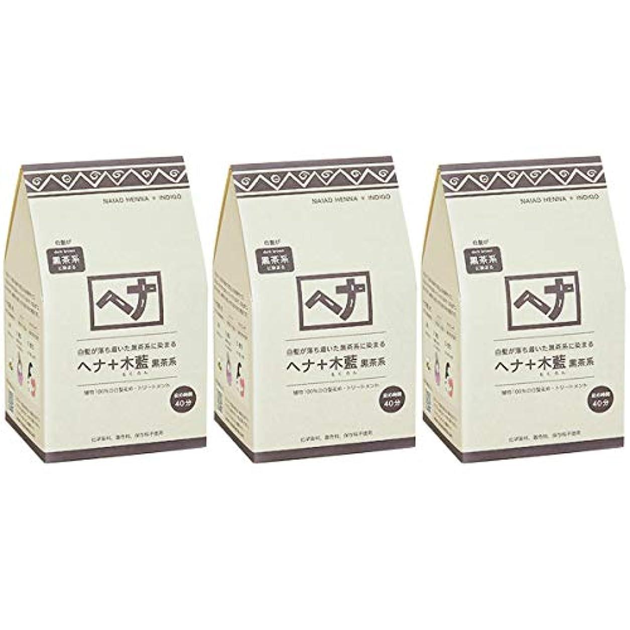刈る第二統治するナイアード ヘナ + 木藍 黒茶系 白髪が落ち着いた黒茶系に染まる 400g 3個セット