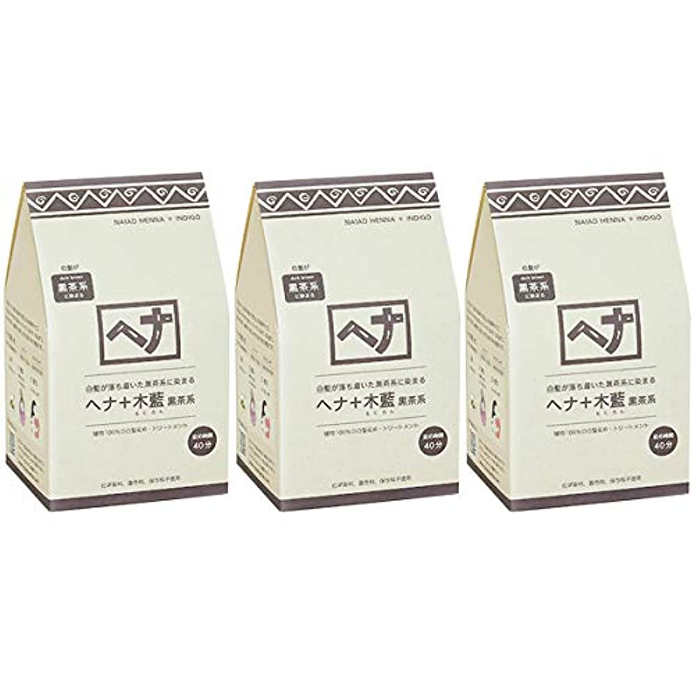 活力グッゲンハイム美術館株式会社ナイアード ヘナ + 木藍 黒茶系 白髪が落ち着いた黒茶系に染まる 400g 3個セット