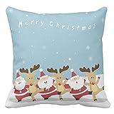 【TESCO】サンタおよびトナカイのクリスマス クッションカバー お洒落さん必見 北欧 インテリア 枕カバー ピローケース 45×45cm