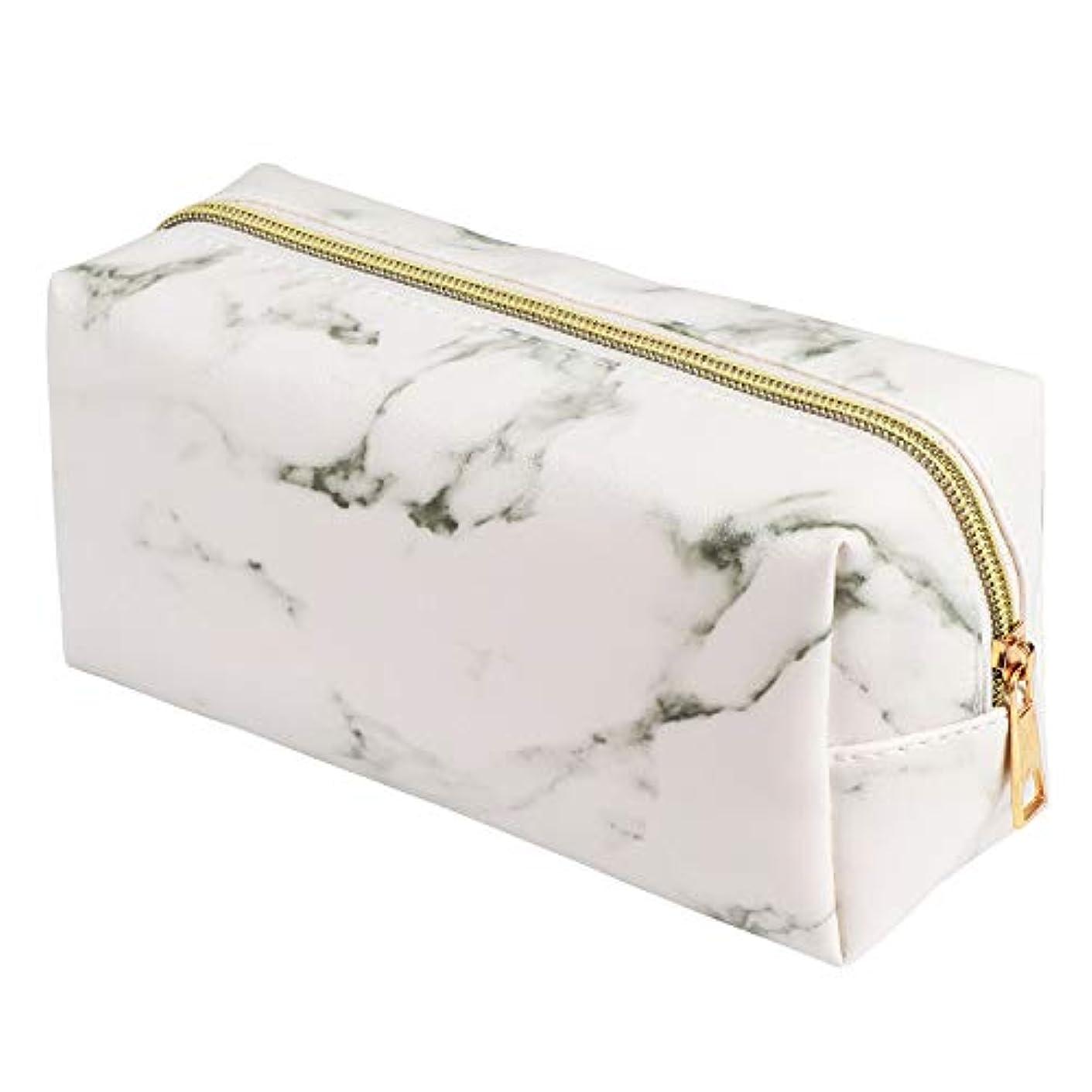 袋神秘的な設置AIFHI 化粧ポーチ コスメポーチ メイクポーチ 大理石柄 プロ用 コスメ収納 化粧 バッグ 化粧道具 小物入れ トラベルバッグ ホワイト