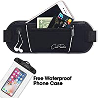 CoolTrader Premium Waist Bag Fanny Pack (Black) Ultra-Slim, Portable Carry All Men Women | Cool, Breathable, Trendy Fun Travel Gear | Store Smartphones, Money, Keys | Running, Gym, Daily