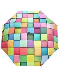 KASAMO格子折りたたみ傘 子供 キャラクター ワンタッチ自動開閉 耐強風 折りたたみ傘 レディース 晴雨兼用 軽量 紫外線傘 UVカット