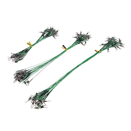 釣り糸, SODIAL(R)72個 グリーン 釣りルアーライン トレースワイヤー リーダー スイベルタックル スピナー シャーク スピニング 15/20/28センチメートル