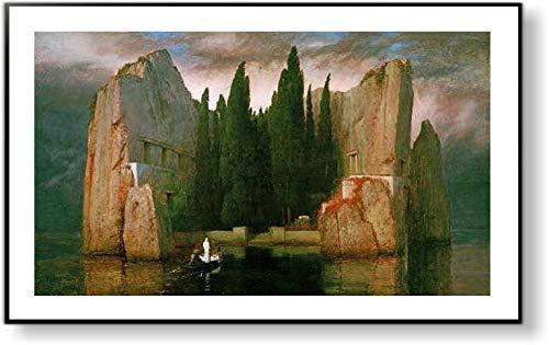 アーノルド・ベックリン *死の島【ポスター+フレーム】約 81 x 51 cm ブラック