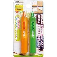 お掃除簡単消しやすいクレヨン2本入(オレンジ?緑) (12個セット) 37-289