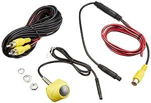 TK-SERVICE  バックカメラ 軽自動車用 小型 ナンバープレート設置タイプ 防水IP67 CCD フロントカメラ リヤカメラ (イエロー)-
