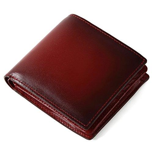 (ラファエロ) Raffaello 一流の革職人が作る スフマート製法で仕立てた二つ折財布 (ダークワイン)
