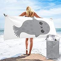 可愛い アザラシ 海豹 バスタオル ビーチタオル スイムタオル マイクロファイバー ふわふわ 人気 安い 旅行用 吸水速乾 大判 家庭用 海水浴 プール