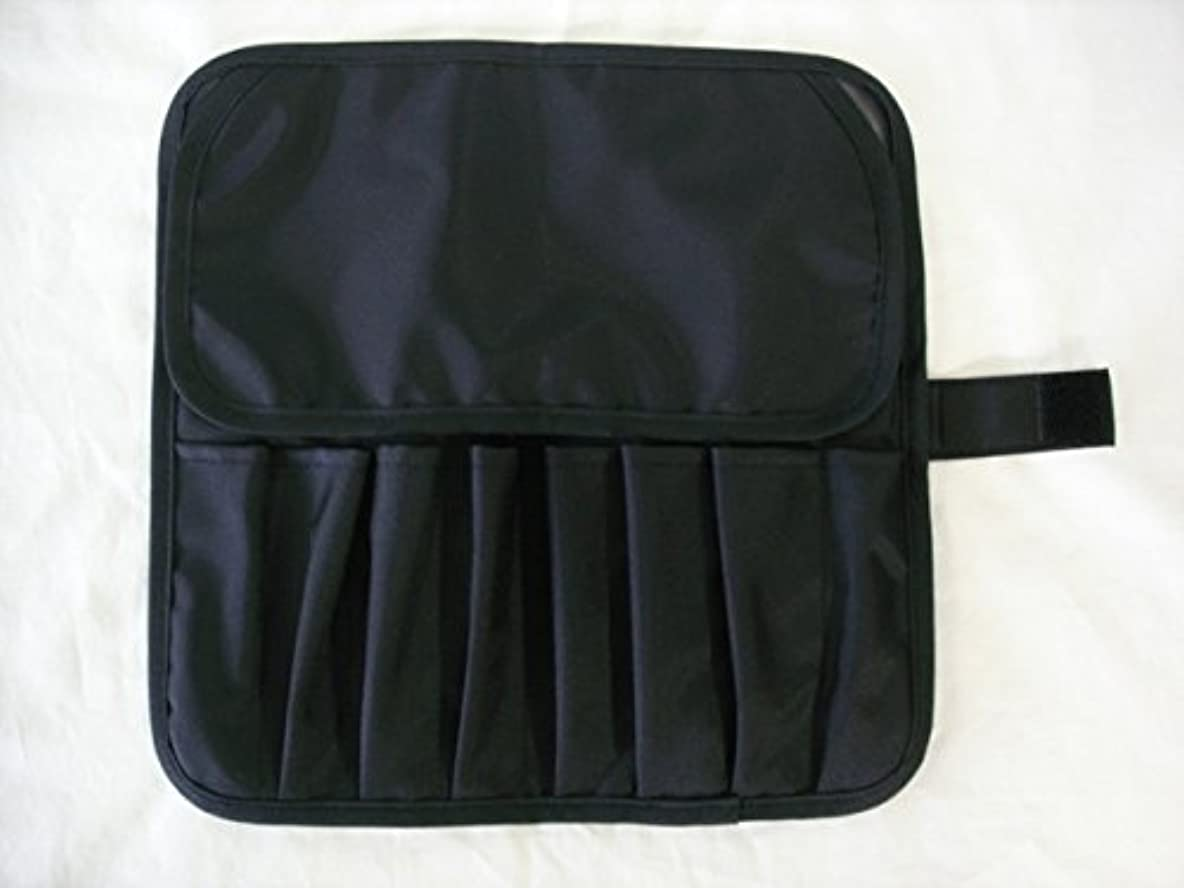 柔らかいきしむ青写真日本製 メイクブラシケース8ポケット付 ブラック