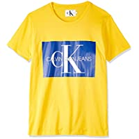 Calvin Klein Jeans Men's Monogram Box Logo Slim T-Shirt, Bright White/red, XL