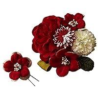 髪飾り 成人式 2点セット 花 大 ミニ uピン コーム つまみ細工 椿 桜 日本製 B/赤