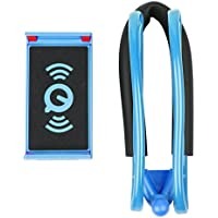 携帯電話タブレット用 ハンギングネックレイジーホルダー 360度回転スタンドブラケット ブルー