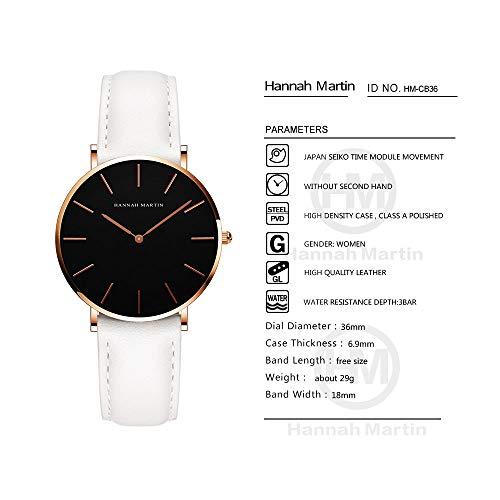 レディース 腕時計 Hannah Martin おしゃれ クラシック シンプル 女性 時計 ビジネス クォーツ watch for women (ブラック+ホワイトバンド)