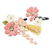七五三 髪飾り 正絹パッチン留め2個セット 3歳 つまみ細工 日本製 キッズ ピンク