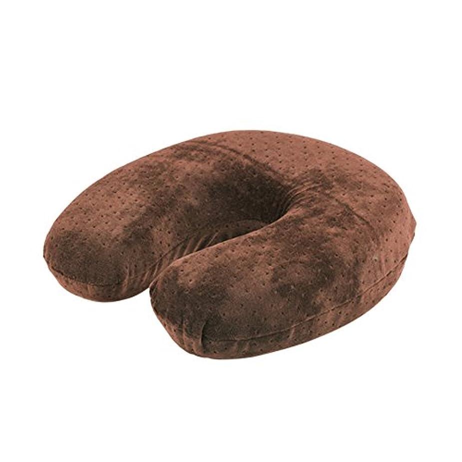 暴力市民靴U字型枕、ビロードの反発の記憶泡の首の頭部の頚部枕残り旅行クッション(Brown)