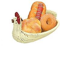 SLH リビングルームフルーツプレートパン乾燥した果物の貯蔵バスケットキャンディープレートクリエイティブフルーツバスケット手作りラタン織鶏のバスケット (Size : L)