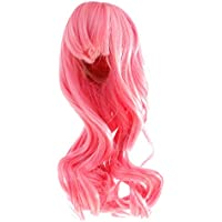 ノーブランド品  1/6スケール ロング カーリー 波状 ヘア ウィッグ ヘアピース 12インチブライスドール用 3色選べる - ピンク