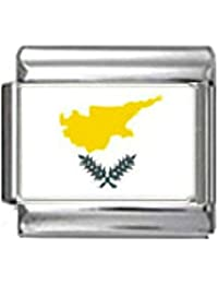 CYPRUS CYPRIOT FLAG Photo Italian 9mm Link PC044