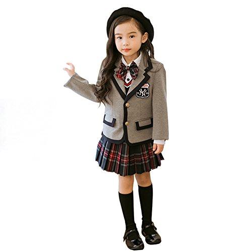 卒業式 スーツ 女の子 Cuteshower キッズ ジュニア スーツ 女の子 スーツ 小学生 卒服 4点セット 130cm