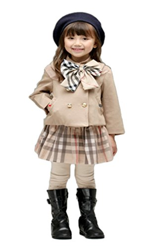 【 すぐ届く 】iikuru 女の子 フォーマル ワンピース ベージュ チェック柄 コート セット ...