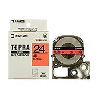 キングジム テプラPRO テープカートリッジ カラーラベル/パステル 24mm 赤地/黒文字 SC24R