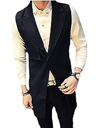 Keaac Mens Notch Lapel Sleeveless Slim Fit Mid-length Jacket Vest