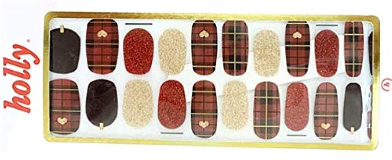 [NJELL PICK] Cutie red check(キューティー&赤チェック) - 赤チェック、赤フランネルネイル、レッド&ゴールドラメ、ゴールドハートアクセント、パンキー&キュート - ネイルラップ、マニキュアストリップ...