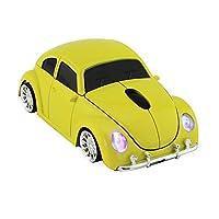 UMEMORY ワイヤレスマウス 無線 2.4GHz 1600DPI ファッションな車型 windows/ios通用 光学式 スポーツカーモデル 黄