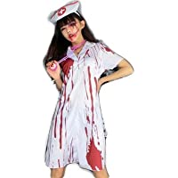 simprettycos 血まみれホラーコスチューム ゾンビナースコスプレ ハロウィン・パーティー等に最適 半袖コスチューム 仮装用衣装 lb100002