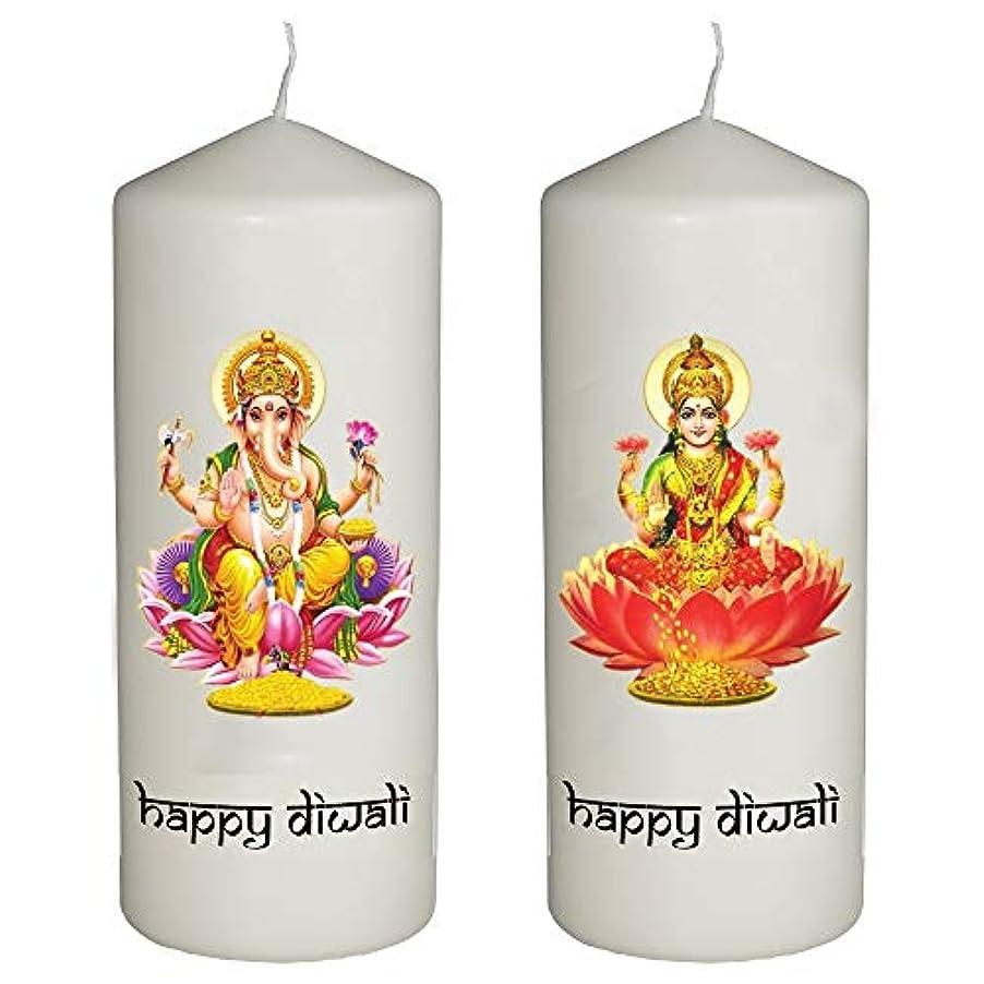プログラム定常ぶどう帽子Shark Happy Diwali Celebration 2キャンドルのセットDiwali – ラクシュミーとガネーシャ神 – Printedフルカラーで6インチTall