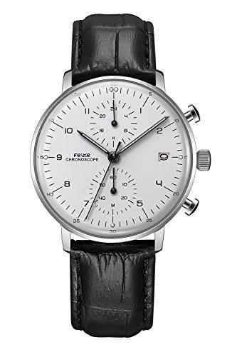 FEICE 超薄型 ファッション 腕時計 クォーツ メンズ 時計 ルミナスハンズ と 湾曲ミラー ウォッチ#FS021(しわブラックレザー)