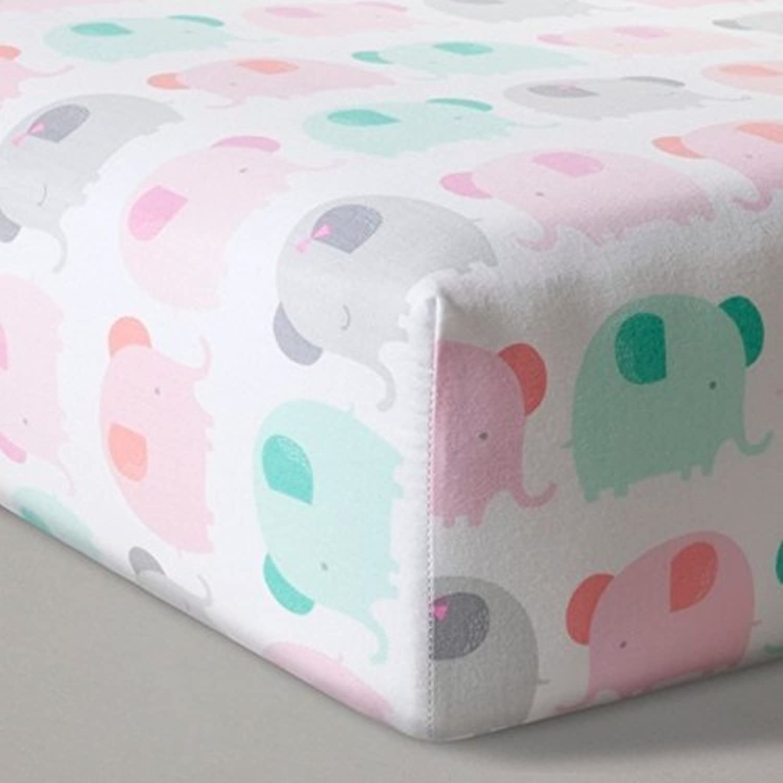 Fitted Crib Sheet Elephant Parade - Cloud Island - Pink [並行輸入品]