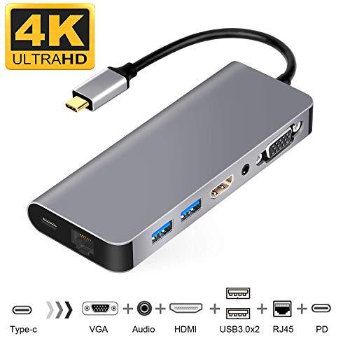 USB C HDMI VGA変換 Samsung Dexモード USB Type C ハブ HDMI 7in1マルチドック USB C有線LAN 変換アダプター USB-C HDMI LAN 1000Mbps対応 USB3.1type-c to 3.5mmオーディオ/PD充電/RJ45/HDMI 4K/VGA/USB3.0*2 (グレー)