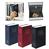 Shop Js 金庫 辞書デザイン 隠し金庫 鍵付き 盗難 防犯 対策 辞書のデザイン型の金庫なので本棚などに入れても金庫だと気づかれにくい 貴重品やへそくりなどの収納に最適 約高さ18x幅11.5xマチ5.5cm(内寸/高さ16.5×幅10×マチ3.5cm) (レッド)