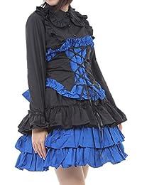 24d7eef481c56 Hachigo (ハチゴウ) ゴスロリ 風 パンク ドレス ワンピース スカート フリル レース リボン ゴシック ロリータ Lolita
