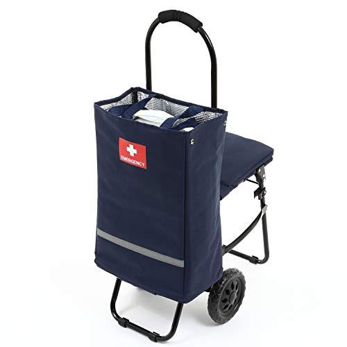 イス付き防災キャリーカート 着脱式トートバッグ レインカバー付き 大型タイヤ