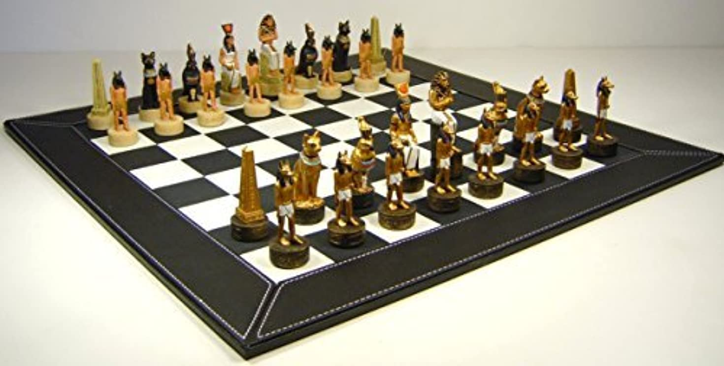 Egyptian Chess Set Hand Painted W/ 18