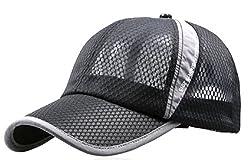 B-WINDY メッシュ キャップ UVカット ランニング 帽子 メンズ (1,ブラック)