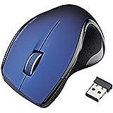 ELECOM ワイヤレスレーザーマウス  5ボタン 2.4GHz エルゴノミクスデザイン ブルー M-LS11DLBU