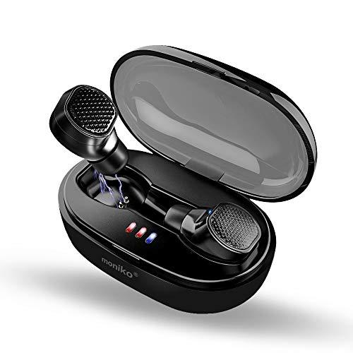 【最先端Bluetooth 5.0 進化版IPX7完全防水】Bluetoothイヤホン Moniko 完全ワイヤレスイヤホン 片耳 両耳対応 ノイズキャンセリング搭載 高音質 フィット感 ブルートゥースイヤホン 超軽量 自動ペアリング iPhoneイヤホン ハンズフリー通話 マイク内蔵 左右分離型 充電ケース付き 長時間連続再生 iPhone&Androidスマートフォン対応 (ブラック)