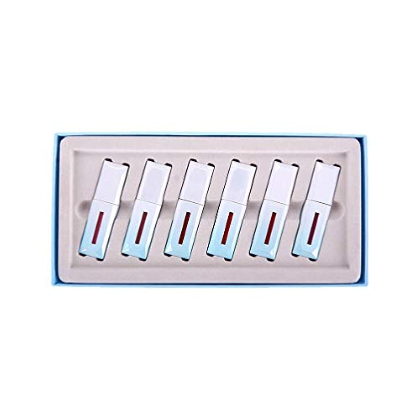 できた水平シェルMinkissy 6ピースマット口紅セット長続き防水液体リップグロス美容艶をかけられたミスト口紅ボックス用女性女の子レディースギフト