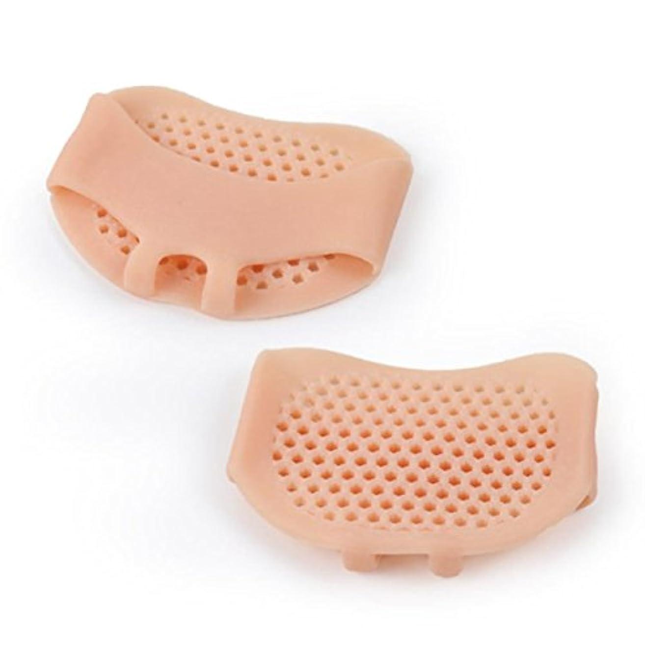 セクタ規定リング通気性のあるソフトシリコン女性インソールパッド滑り止め快適な女性フロントフットケアクッションハイヒール靴パッド-肌の色