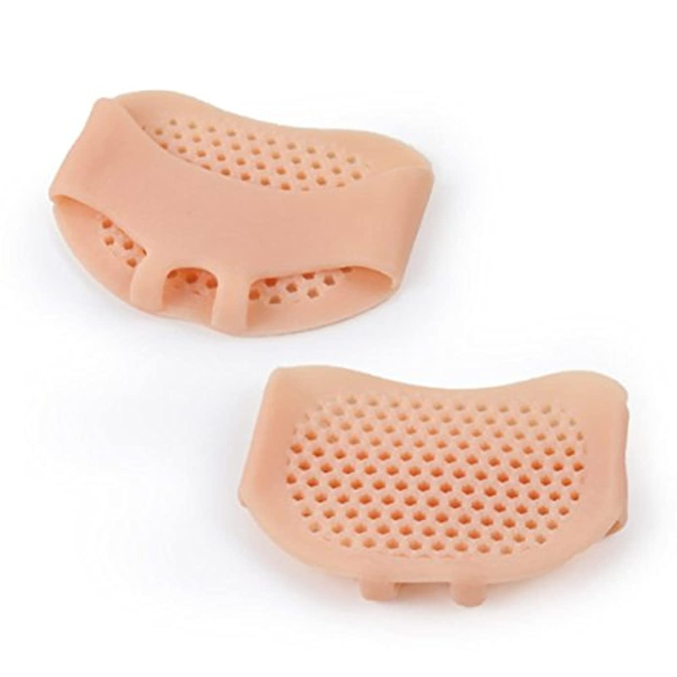 やろう鋸歯状リズミカルな通気性のあるソフトシリコン女性インソールパッド滑り止め快適な女性フロントフットケアクッションハイヒール靴パッド-肌の色